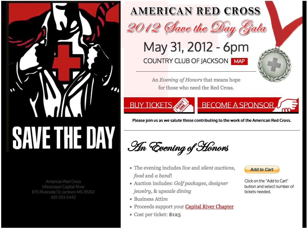 Red Cross Gala website design