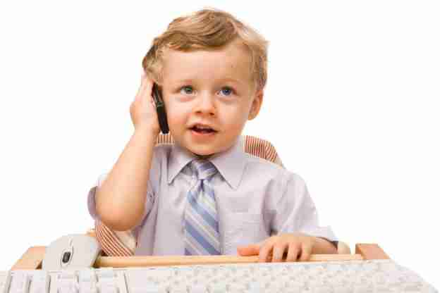 Child on business call